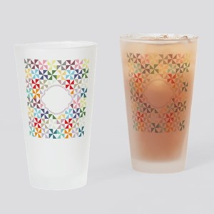 Colorful Pinwheels White Dotted Drinking Glass