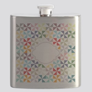 Colorful Pinwheels White Dotted Flask