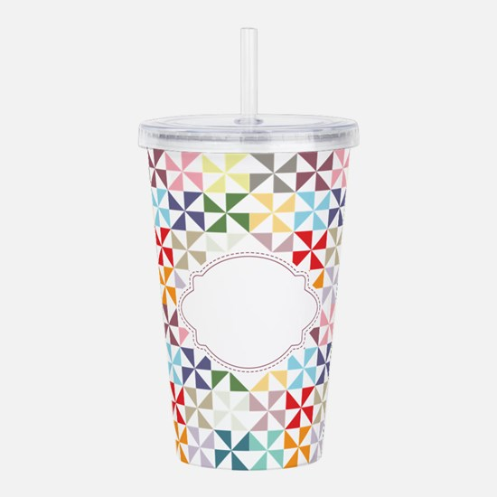 Colorful Pinwheels White Dotted Acrylic Double-wal
