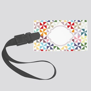 Colorful Pinwheels White Dotted Luggage Tag