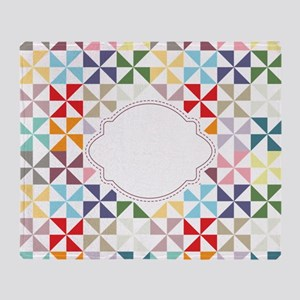 Colorful Pinwheels White Dotted Throw Blanket