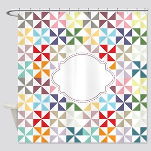Colorful Pinwheels White Dotted Shower Curtain