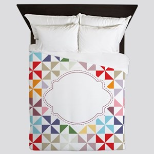 Colorful Pinwheels White Dotted Queen Duvet