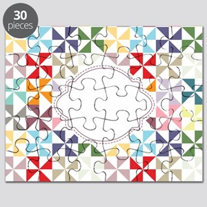 Colorful Pinwheels White Dotted Puzzle