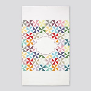 Colorful Pinwheels White Dotted Area Rug