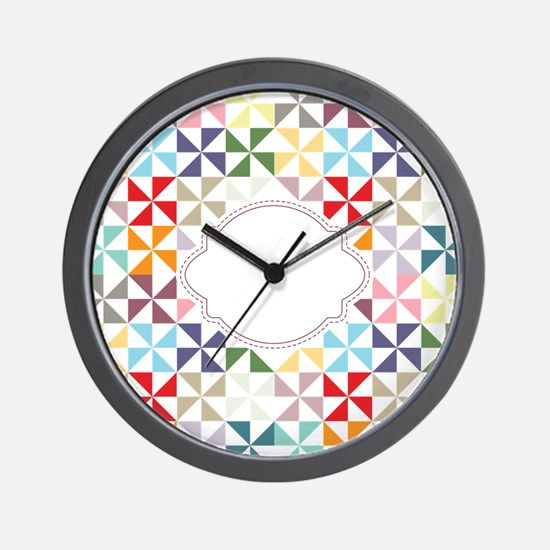 Colorful Pinwheels White Dotted Wall Clock