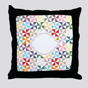 Colorful Pinwheels White Dotted Throw Pillow