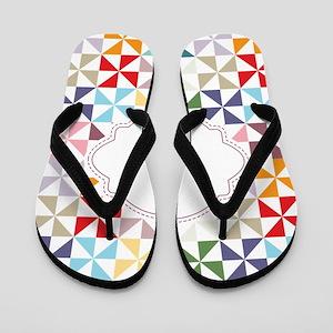 Colorful Pinwheels White Dotted Flip Flops