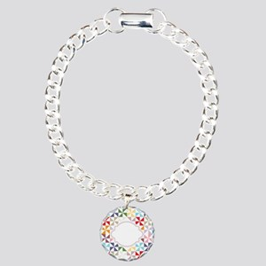 Colorful Pinwheels White Dotted Bracelet