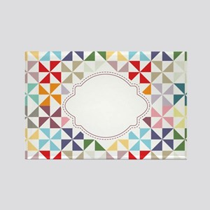 Colorful Pinwheels White Dotted Magnets