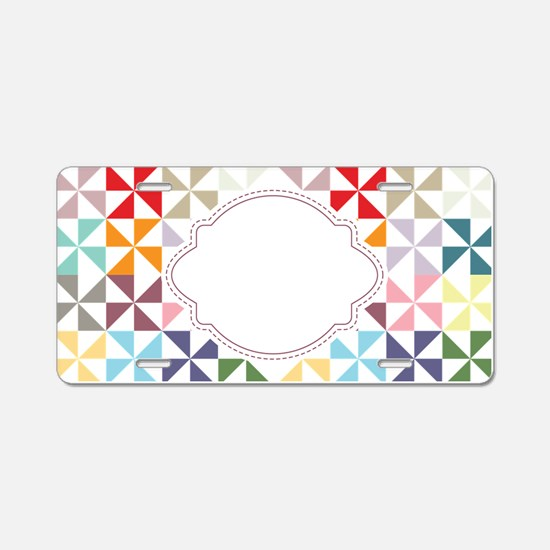 Colorful Pinwheels White Dotted Aluminum License P