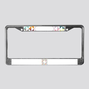 Colorful Pinwheels White Dotted License Plate Fram