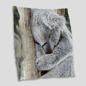 Sleeping Koala baby Burlap Throw Pillow