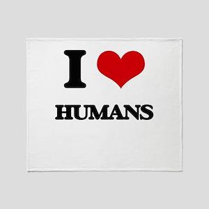 I Love Humans Throw Blanket