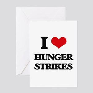 I Love Hunger Strikes Greeting Cards