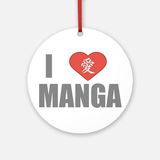 I Love Manga Ornament (Round)
