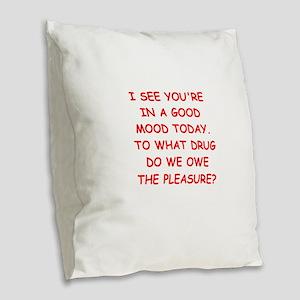 good mood Burlap Throw Pillow