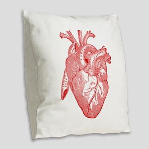 Anatomical Heart - Red Burlap Throw Pillow