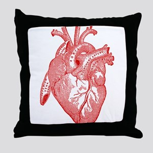 Anatomical Heart - Red Throw Pillow