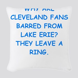 cleveland fans Woven Throw Pillow