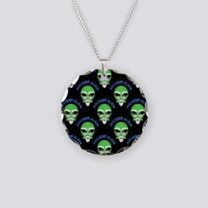 Ancient Alien Head Pattern Necklace Circle Charm