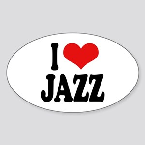 I Love Jazz Oval Sticker