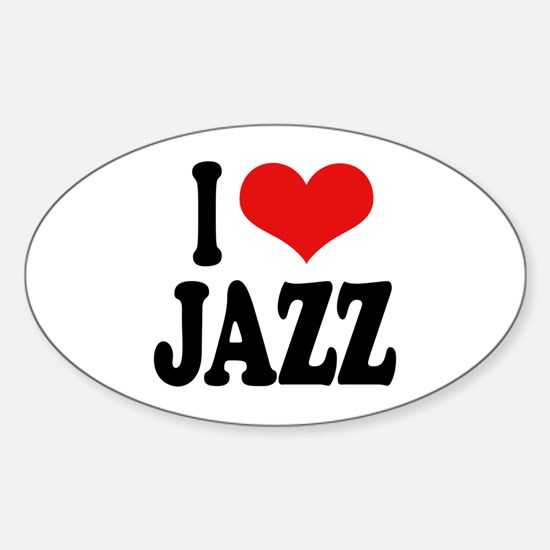 I Love Jazz Oval Decal