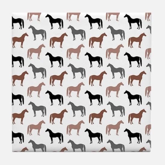 Elegant Horse Pattern Tile Coaster