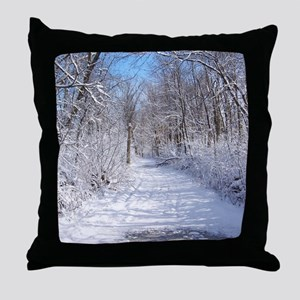 Snow Trail Scenery Throw Pillow