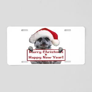Helaine's Christmas Meerkat Aluminum License Plate