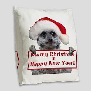 Helaine's Christmas Meerkat Burlap Throw Pillow