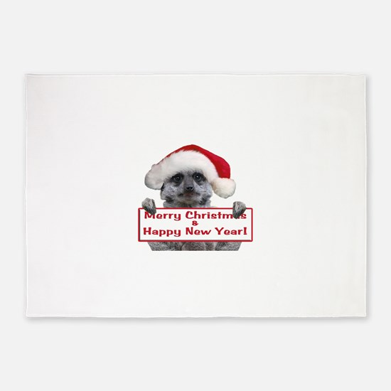Helaine's Christmas Meerkat 5'x7'Area Rug