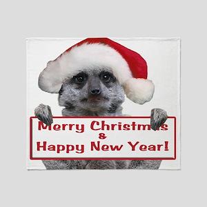 Helaine's Christmas Meerkat Throw Blanket