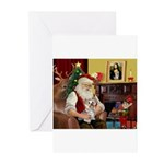 Santa's Yorkie (#13) Greeting Cards (Pk of 20)