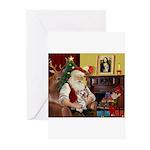 Santa's Yorkie (#13) Greeting Cards (Pk of 20)