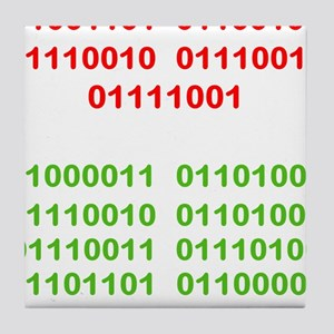 Merry Christmas in Binary Tile Coaster