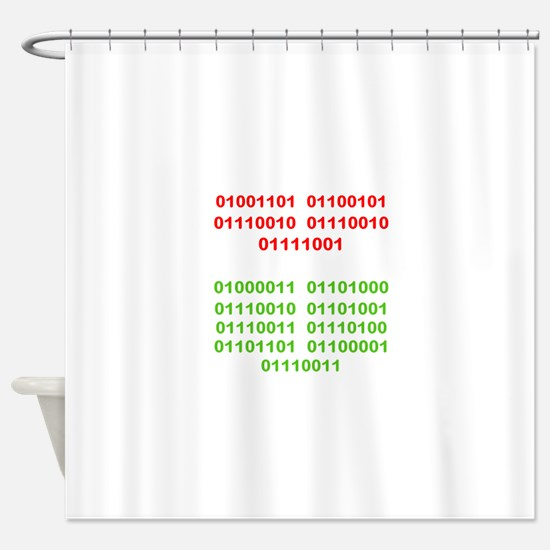 Merry Christmas in Binary Shower Curtain