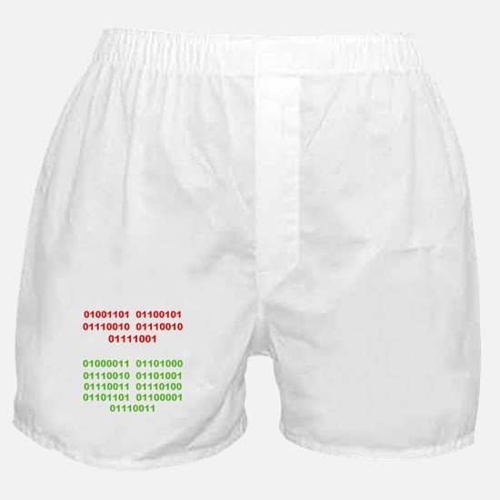 Merry Christmas in Binary Boxer Shorts