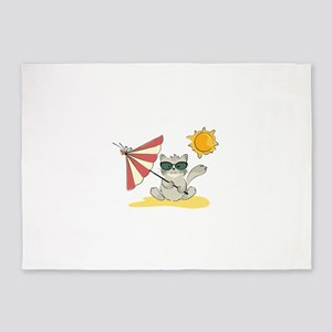 Cool Beach Cat with Umbrella and Su 5'x7'Area Rug