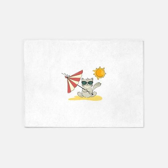 Cool Beach Cat with Umbrella and Su 5'x7'Area Rug