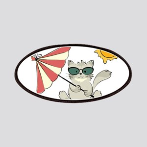 Cool Beach Cat with Umbrella and Sunglasse Patches