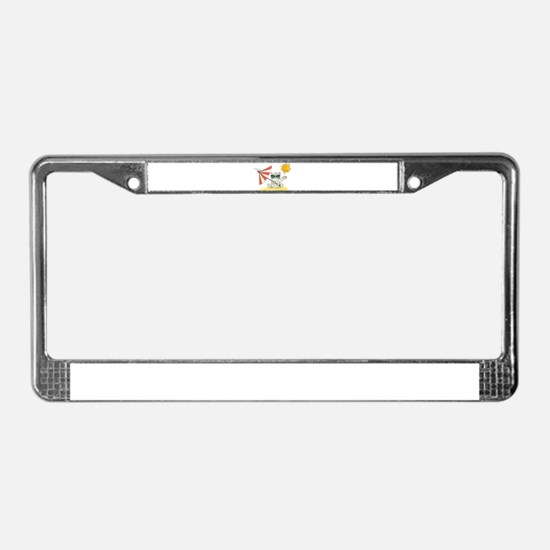 Cool Beach Cat with Umbrella a License Plate Frame