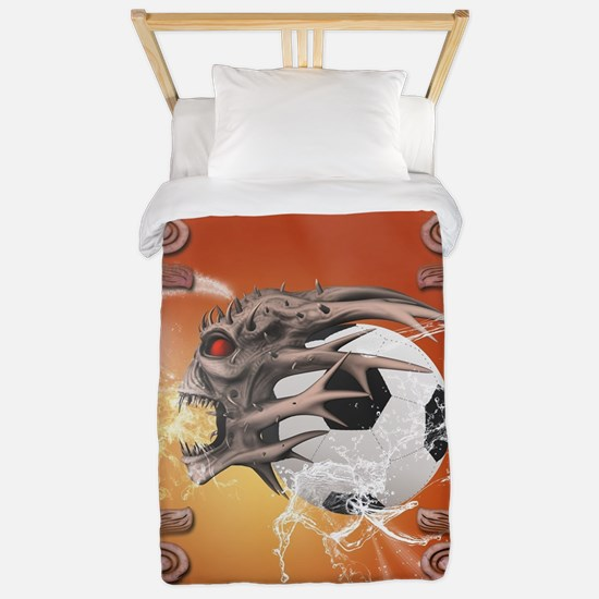 Soccer with skull, fire and water Twin Duvet