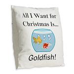 Christmas Goldfish Burlap Throw Pillow