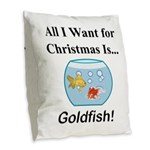 Christmas Goldfish Burlap Throw Pillow