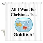 Christmas Goldfish Shower Curtain