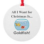 Christmas Goldfish Round Ornament