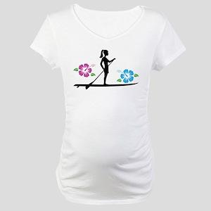 Paddleboarding girl Maternity T-Shirt