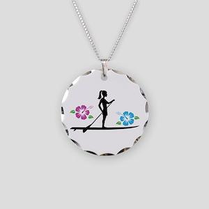 Paddleboarding girl Necklace Circle Charm