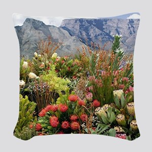 South African flower display i Woven Throw Pillow
